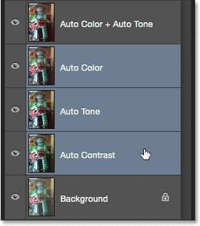 Selecting the unwanted Auto command layers. Image © 2015 Photoshop Essentials.com