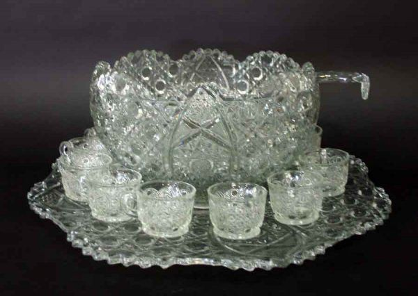 """Antique Pressed Glass Punch Bowl Set with 12 cups, Ladle & Underplate. Platter 22""""d, Bowl 9""""h x 14""""d"""