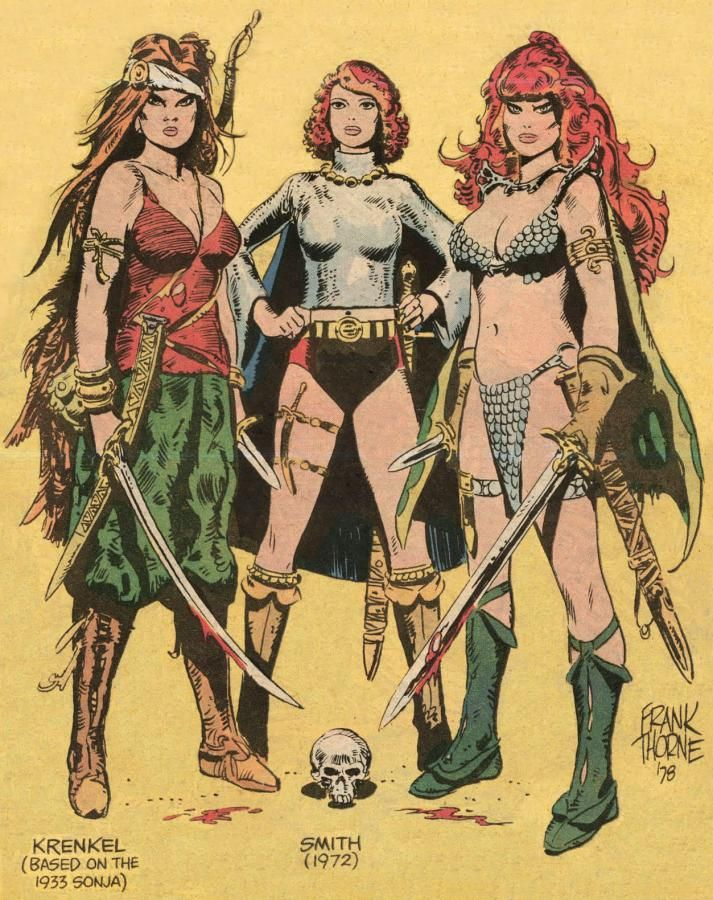Red Sonja illustrations over the years! By Roy Krenkel, Barry (Windsor-) Smith & Frank Thorne. Nicely done!