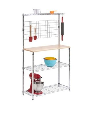 Honey-Can-Do Bakers Rack with Cutting Board and Storage Shelves