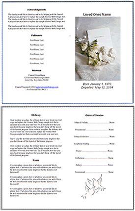 editable funeral memorial program template