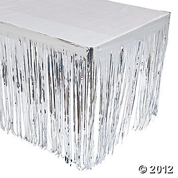 "Silver Fringe Table Skirt  IN-70/8635     Write the first review  Silver Fringe Table Skirt. Easily detail any table for your event! Silver Metallic Fringe Table Skirts are great decorations for graduation parties, birthdays, luaus, wedding receptions and other celebrations. Foil. 9 ft. x 29""  $8.50 Each"