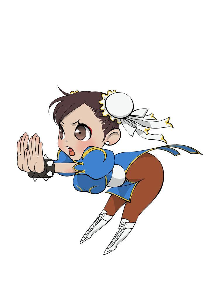 More chibi style artwork featuring Street Fighter characters, image #23 Chun Li Kikoken