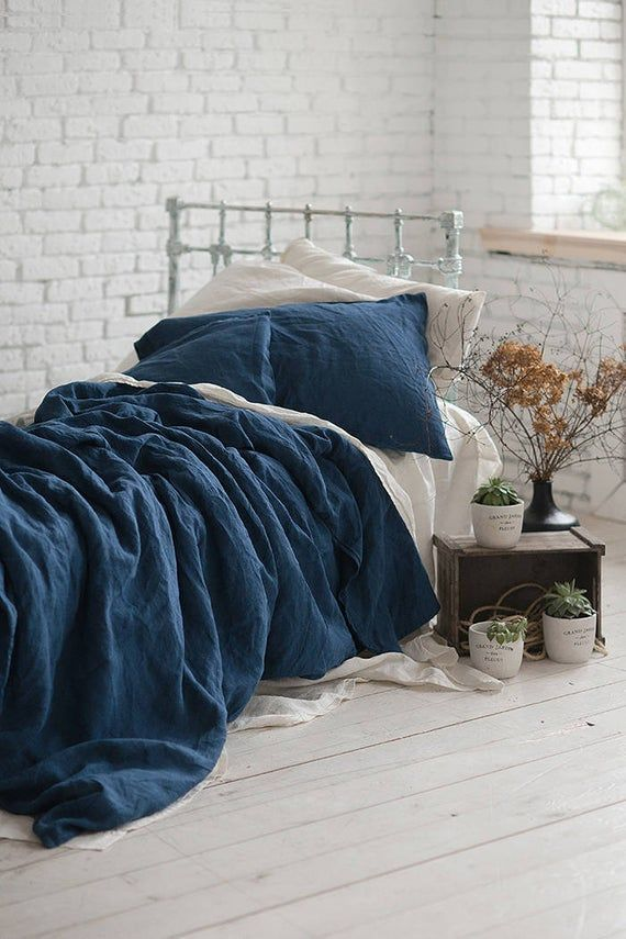 Linen Duvet Cover Navy Blue Washed, Flax Linen Bedding Manufacturers In India