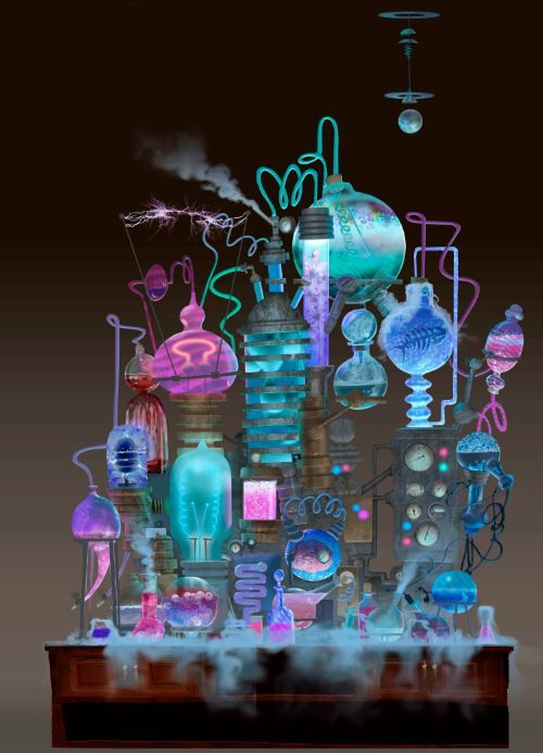 Would LOVE this set up for my Mad Scientist Lab. Use thick wire to wrap test tubes and add glow sticks and tubing. Art by Luc Desmarchelier.