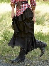 Western Costume Idea - Rustle up some ruffles. Tiered skirt puts some flirt in your outfit and a flounce in your step. Created just for us by Tasha Polizzi. Pendleton