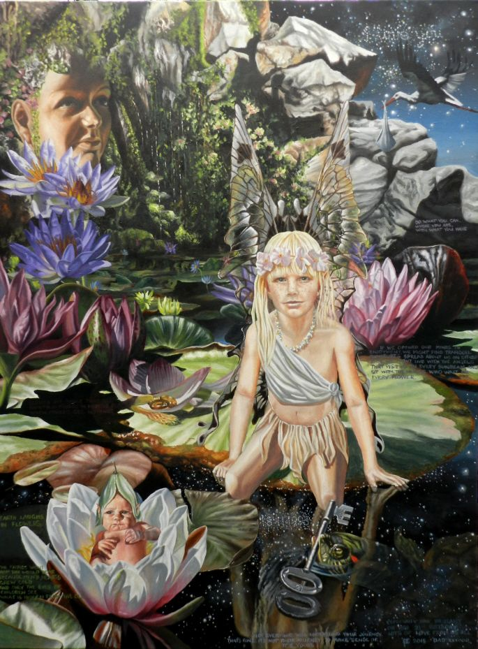 fairy and baby - oil on canvas - www.paulconey.co.nz