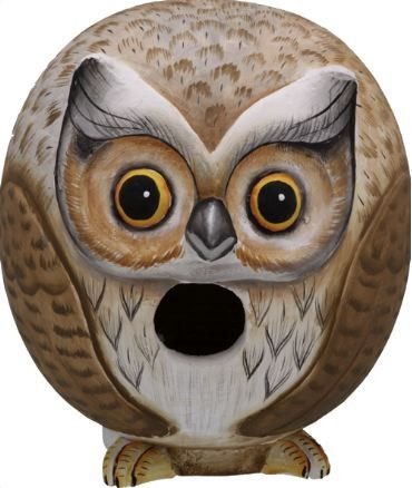 Expressive owl birdhouse is hand carved and painted using non-toxic paints and finishes with amazing attention to detail. Round, fat and whimsical (too much coffee?) he's uniquely functional art for t