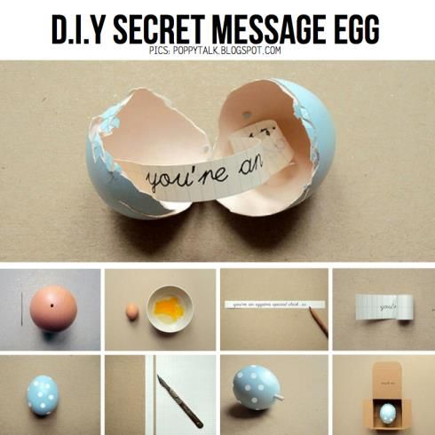 So cute! Message in a... eggshell! Write some romantic message for your secret lover in one of these 'fortune' eggs