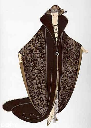 Erte - Golden Cloak vintage Art Deco fashion illustration