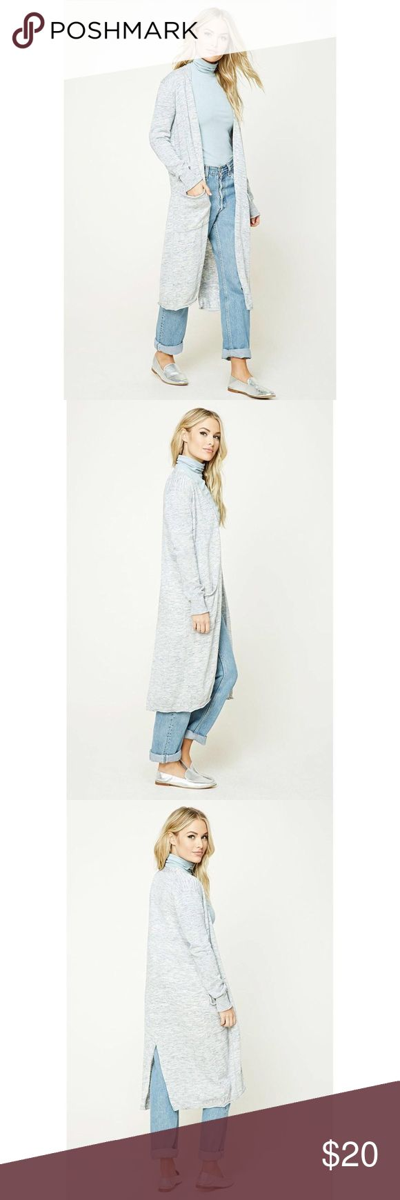 forever 21 || contemporary longline cardigan •new with tag •lightweight marled knit cardigan  •open front •long sleeves with ribbed cuffs •front patch pockets •70% cotton, 30% polyester Forever 21 Sweaters Cardigans