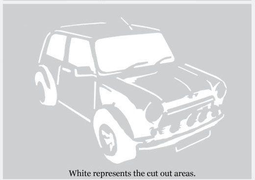 Mini Cooper Stencil, Car Décor Stencil, Painting Stencils