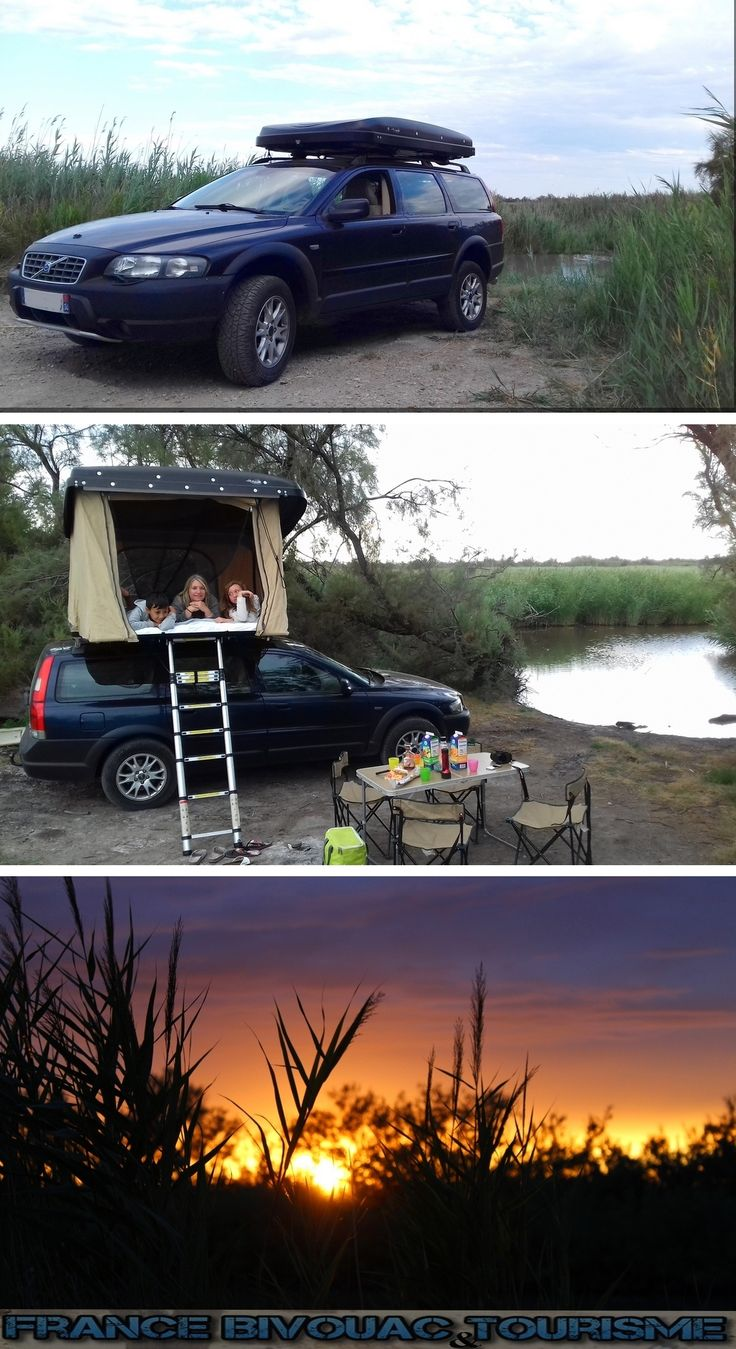 France Bivouac et Tourisme, Camping en Camargue avec une tente de toit. Volvo XC70. Rooftop tent Hussarde Quatro. 2 adultes et 2 enfants.