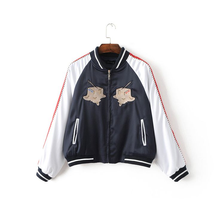 Korean Letter pattern embroidered jacket women basic coats New Autumn long sleeve zipper bomber women jacket coats