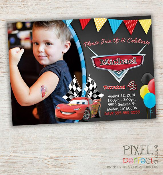 Cars Birthday Invitation Disney's Cars