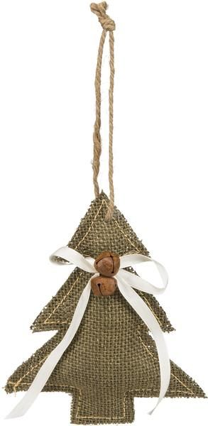 Meticulously sewn dark green/brown burlap fabric in the shape of a Christmas Tree. Two rust colored jingle bells near top with white satin ribbon. Jute hanger.