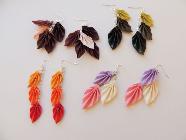 Here are the results of last week's folding! Lovely leaf earrings for autumn... #erigamidesign #origami #jewellery #jewelry #handmade #foreverfolding www.facebook.com/erigamijewellery