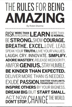 The Rules For Being Amazing via yourpowerhouse