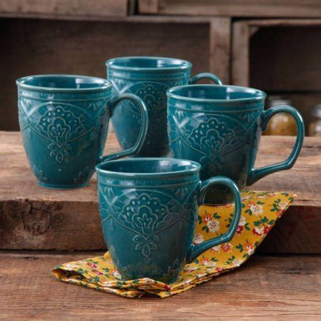 Feature: - 4-pack - 17 oz mugs - Dishwasher safe - Microwave safe - Pattern: Geometric A charming antique finish adorns this elegantly embossed pattern. The Farmhouse Lace Collection brings the perfec