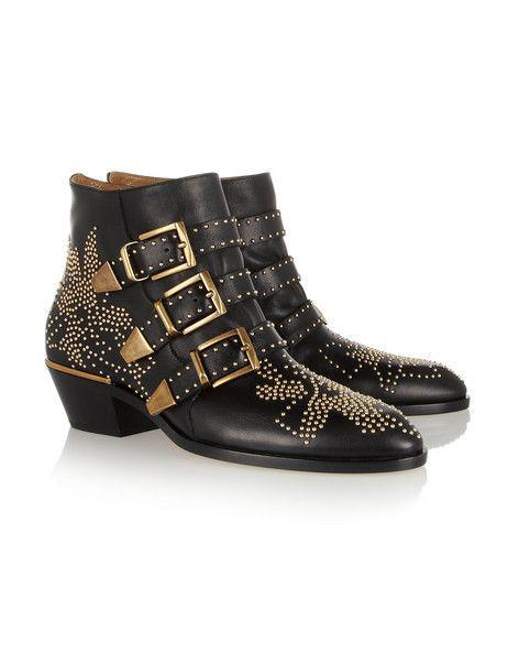 Chloé Susanna Studded Leather Ankle Boots.