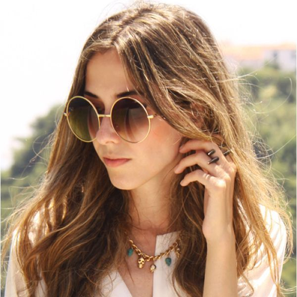Womens Vintage Oversize Metal Round Circle Sunglasses 8370 Gold Gradient | eBay