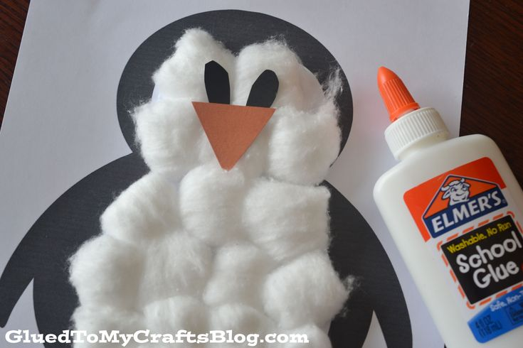 Cotton Ball Penguin Kids Craft. Use cotton balls, Elmer's Glue, and construction paper to make cute and fuzzy penguins with your kids this winter.
