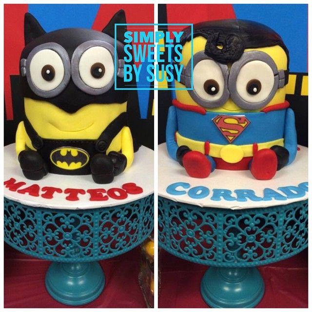 Minion super hero cakes! #minions #batman #superman #birthdaycake #simplysweets #gtacakes #torontocakes #superhero
