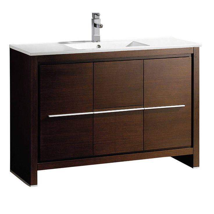 Fresca Allier 48-inch Wenge Brown Modern Bathroom Cabinet w/ Sink (Allier 48 Modern Bathroom Cabinet w/ Sink), Size Single Vanities