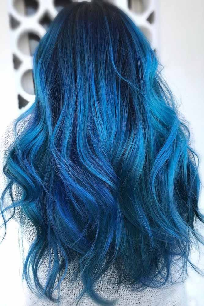 55 Tasteful Blue Black Hair Color Ideas To Try In Any Season Hair Color For Black Hair Blue Ombre Hair Hair Styles