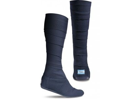 Tom's Navy vegan Wrap Boots - $98  I am so strangely intrigued by these! Does anyone own them? Do tell...