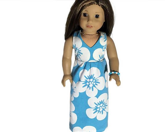 """Long Hawaiian Style Dress with FREE Bracelet/ Fits 18"""" American Girl Doll/ Blue with White Flowers/ Remember, Spring & Summer Are Coming!"""