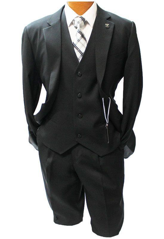 Stacy Adams Suny Black Vested Suit