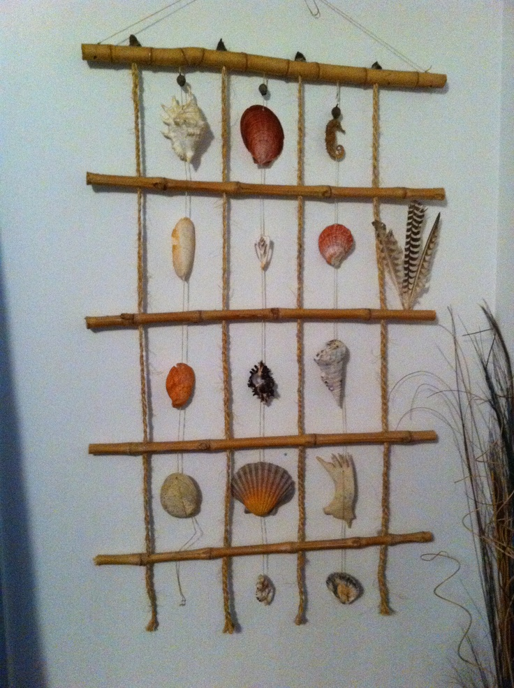 Shell Hanger made from Bamboo and String!! Made by Pip Wardlaw.