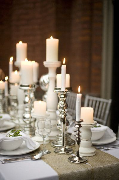 silver and white candles...table setting