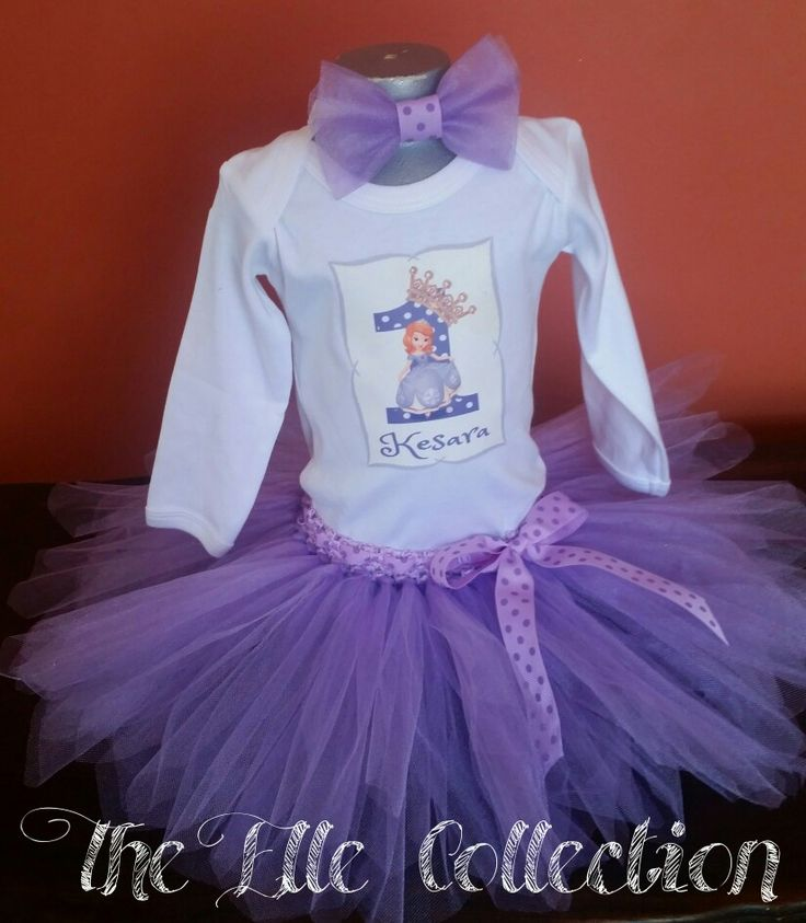 Sofia the first tutu skirt with personalized shirt and matching headband custom made by the Elle Collection in South Africa.  To order email Karin on theellecollection13@gmail.com