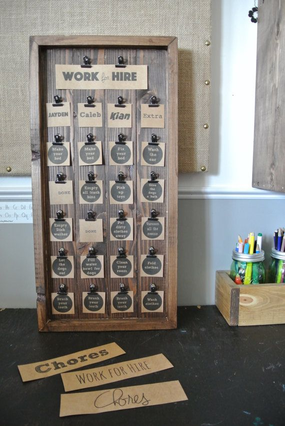 Kid's Chore Chart Wooden Chore Chart Rustic Chore von DecoratedRoom