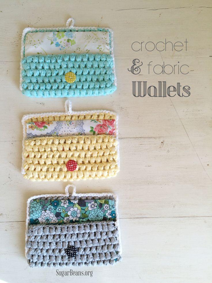 Crochet + fabric wallets - free pattern/tutorial  ༺✿ƬⱤღ  http://www.pinterest.com/teretegui/✿༻