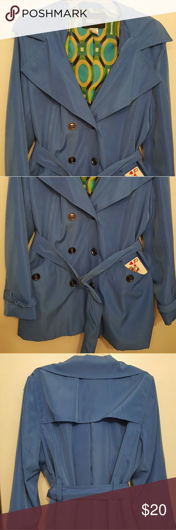 NWOT Blue Raincoat NWOT Blue Raincoat  First 2 pics are the whole front. Button and belt closure. Metrostyle Jackets & Coats Trench Coats