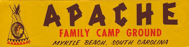 Apache Family Camp Ground - Myrtle Beach South Carolina - Bumper Sticker - 1980. Create your own custom bumper stickers at BottleYourBrand.com. #vintage