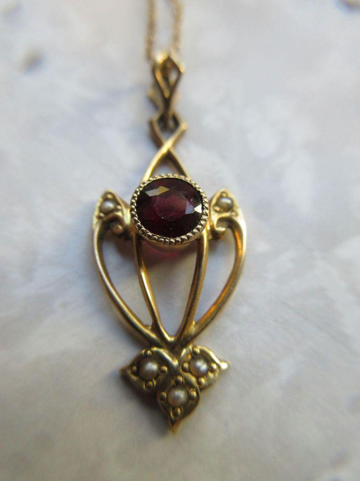 Art  Nouveau 10k Garnet Seed Pearl Lavaliere Necklace
