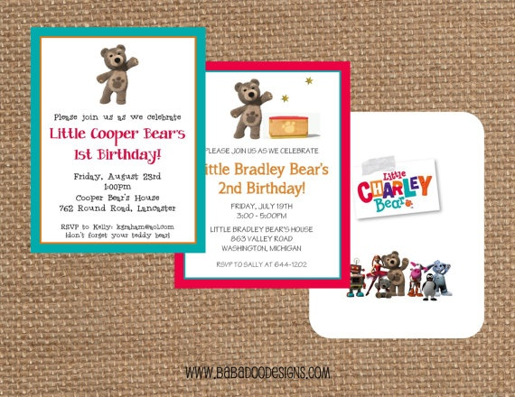 Little CHARLEY BEAR Invitation  Multiple by BabadooStationery, $15.00