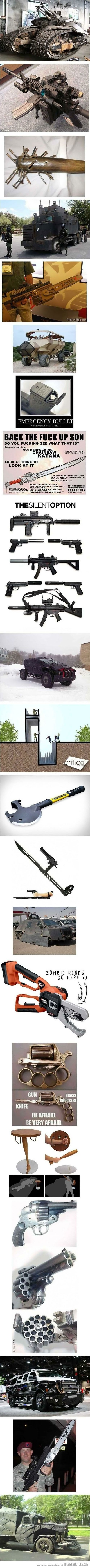 Everything you'll need for a zombie apocalypse…  (PS...sorry it swore for the katana)