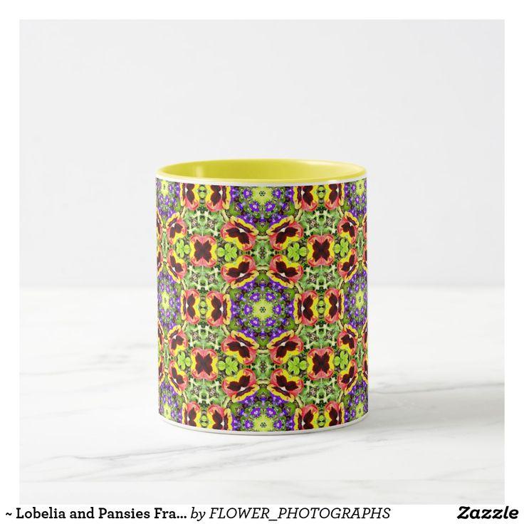 ~ Lobelia and Pansies Fractal ~ Mug