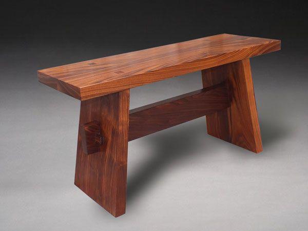 Japanese Walnut Wedged Bench - Benham Design Concepts