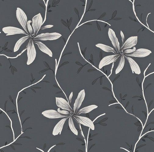 Rogivande tapet med stilrent slingrande blommönster i olika grå nyanser från kollektionen Flora 897708. Klicka för att se fler blommiga tapeter för ditt hem!