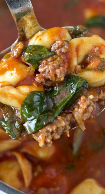 Tortellini Tomato and Spinach Soup with Italian Sausage ~ This is definitely not your run of the mill canned variety soup, and it's a great one pot meal