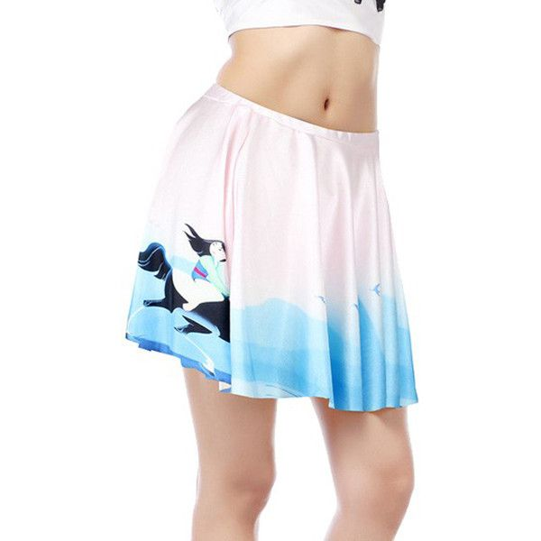 Light Blue Cartoon Graphic Print Pleated Skater Skirt (23 CAD) ❤ liked on Polyvore featuring skirts, pleated skirt, elastic waist circle skirt, flared pleated skirt, pleated skater skirt and light blue skirts