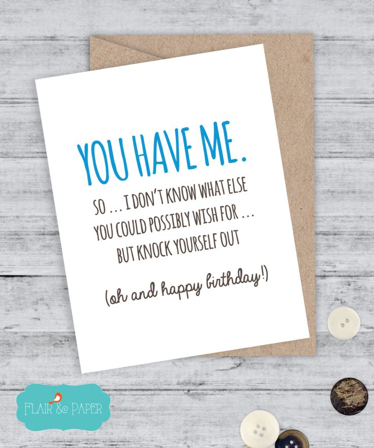 Birthday Card Boyfriend Card Funny Birthday Card I love you card  Sorry Card Quirky Snarky Greeting Card Just for fun Just because, Blank by FlairandPaper on Etsy
