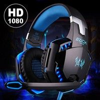 Geek | Noise Cancelling Gaming Headset / Over Ear Game Gaming Headphone Headset Earphone Kopfhörer with Mic Stereo Bass LED Light for PC Computer Laptop Mobile Phones