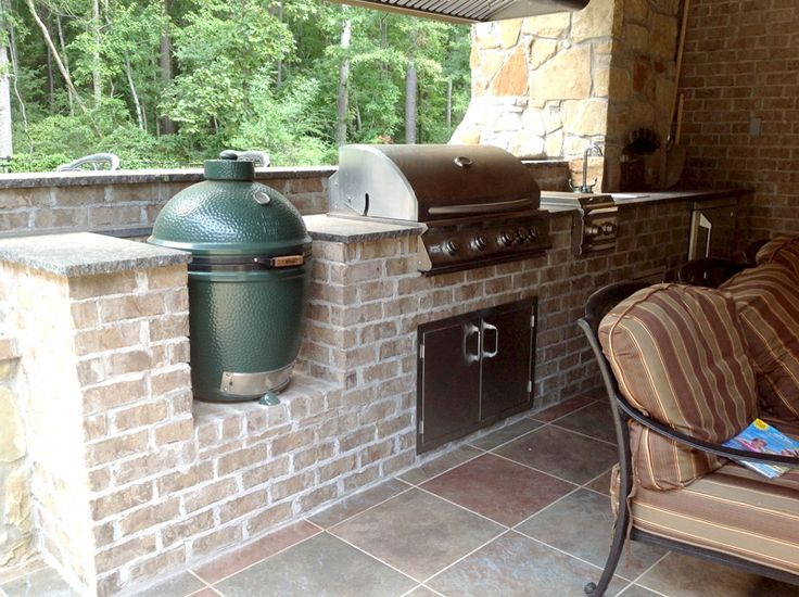 Brick Outdoor Kitchen With Green Egg Smoker And Stainless Steel Grille Outdoor Kitchens